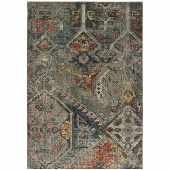 9' x 12' Distressed Grey Machine Woven Tribal Abstract Indoor Area Rug