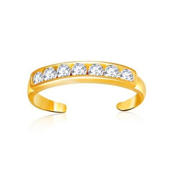 14k Yellow Gold Pave Set Cubic Zirconia Toe Ring