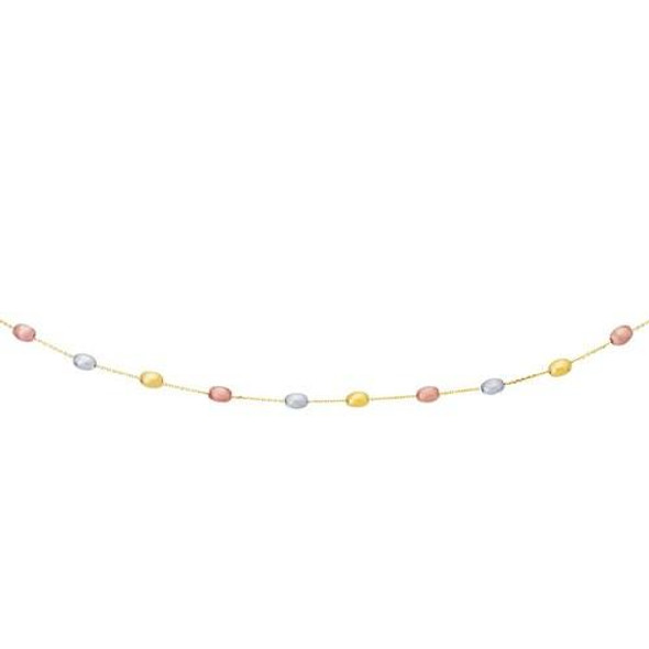 14k Tri-Color Gold Necklace with Fancy Textured Pebble Stations, size 17''