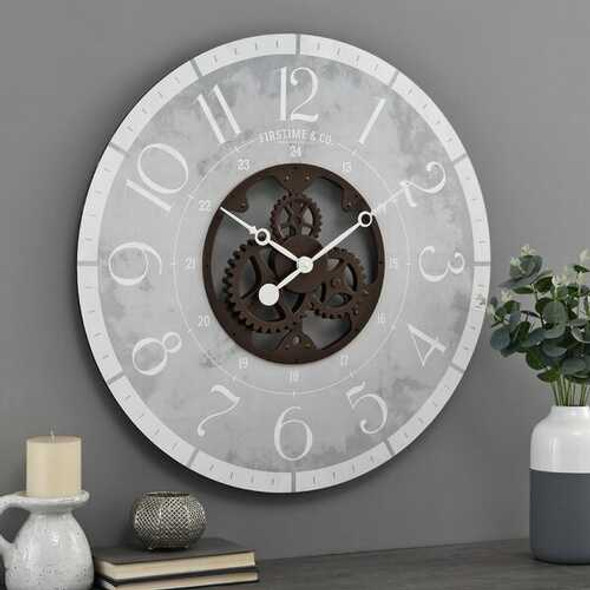 Rustic Gray Bronze Industrial FarmHome Round Oversized Wall Clock