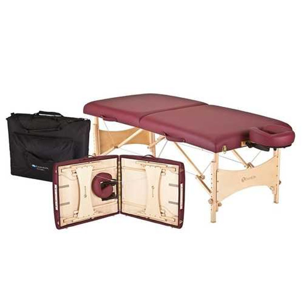 Burgundy Portable Massage Table with Adjustable Headrest and Carry Case