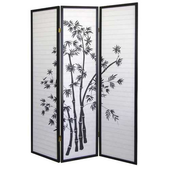3-Panel Room Divider Privacy Screen with Bamboo Design Black White