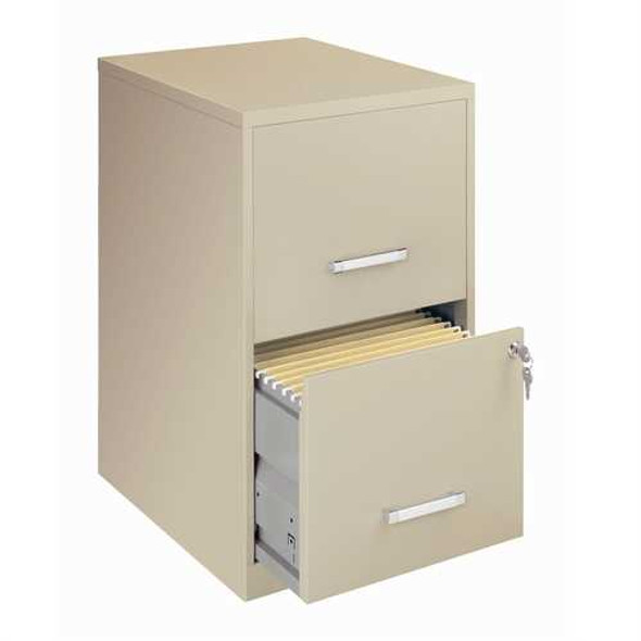 Locking 2-Drawer Vertical File Cabinet in Putty Color
