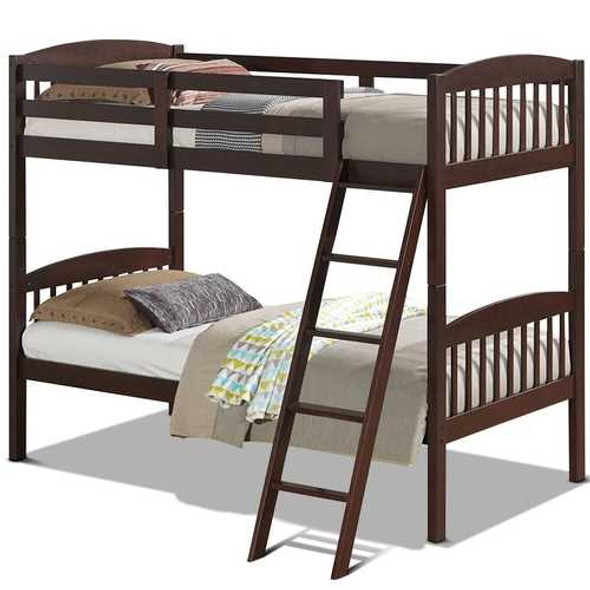 Twin over Twin Wooden Bunk Bed with Ladder in Dark Brown Finish