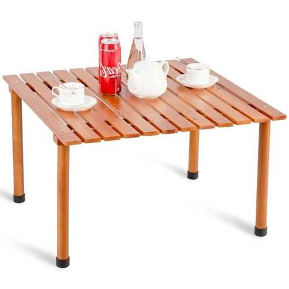 Outdoor Portable Roll-Up Folding Wood Patio Table with Carry Bag