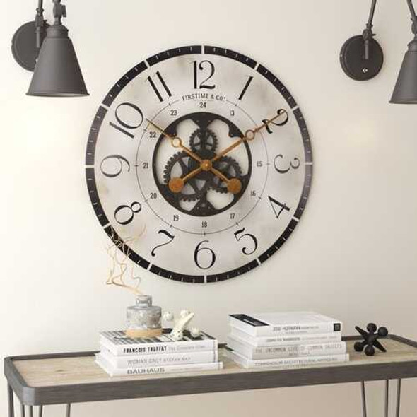 Rustic Bronze Industrial FarmHome Round Oversized Wall Clock