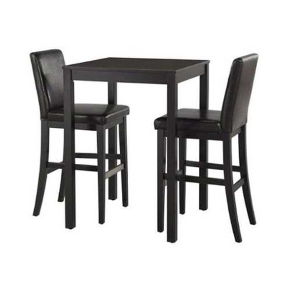 Counter Height Pub Bar Dining Table in Black Wood Finish