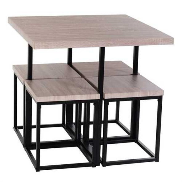 Farmhouse 5 Piece Square Natural Wood Steel Kitchen Dining Set