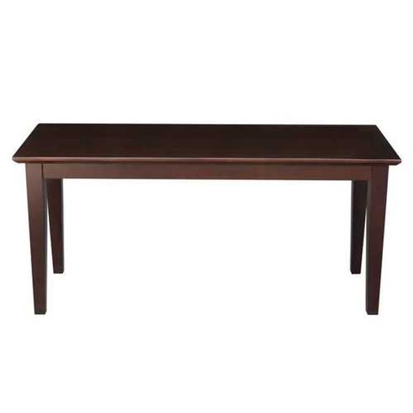 Solid Wood Entryway Accent Bench in Java Brown Finish