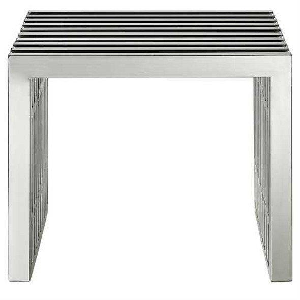 Mid-Century Modern Stainless Steel Accent Bench