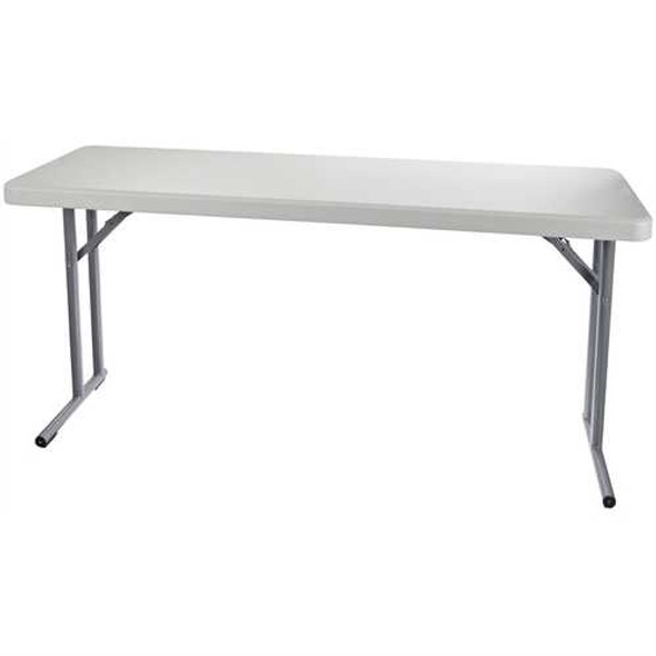 Steel Frame Rectangular Folding Table with Speckled Gray Top
