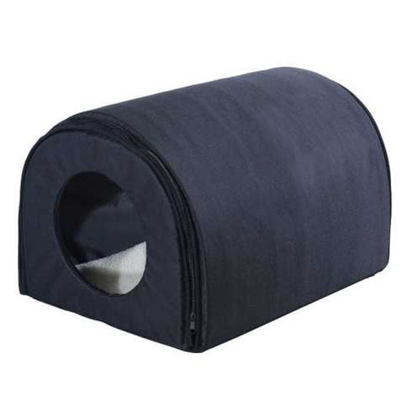 Outdoor Heated Cat House with Warm Padded Bed in Black