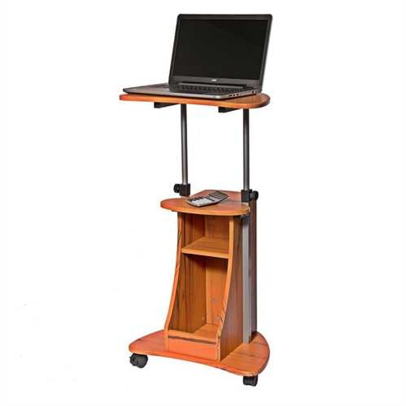 Mobile Sit Down Stand Up Desk Adjustable Height Laptop Cart in Wood-grain Finish