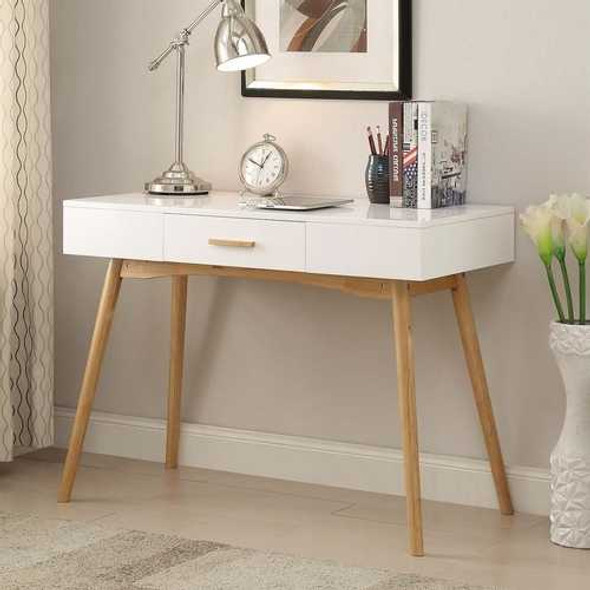 Modern Laptop Writing Desk in White with Natural Mid-Century Style Legs