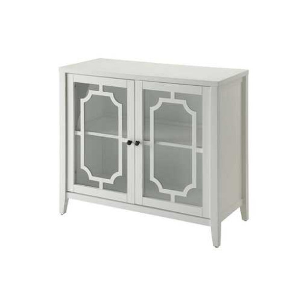 White Wood Venetian Buffet Cabinet with Glass Panel Doors