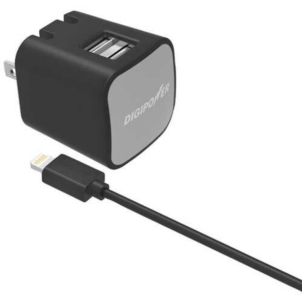 DIGIPOWER IS-AC2DL InstaSense 2.4-Amp Dual-Port Wall Charger with 5ft USB Cable & Lightning Connect
