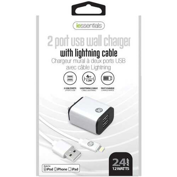 iEssentials IEN-ACL-22A 2.4-Amp Dual USB Wall Charge with Lightning to USB-A Cable, 4ft