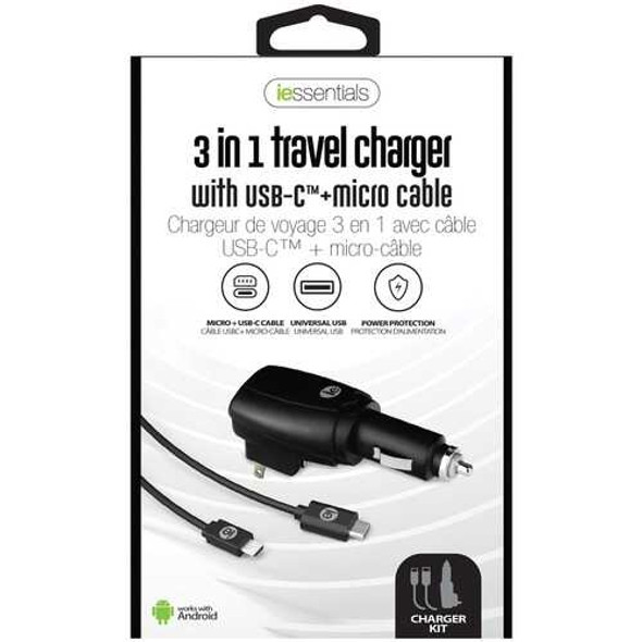 iEssentials IEN-ACP-CELL 3-in-1 Travel Charger