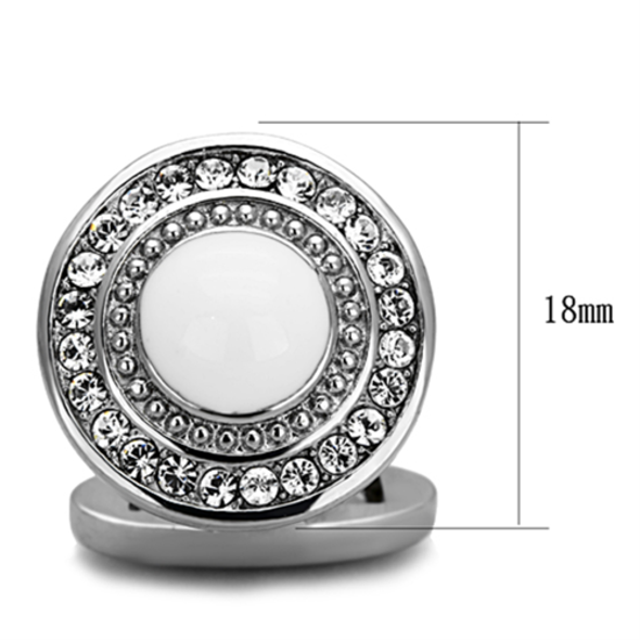 TK1273 - Stainless Steel Cufflink High polished (no plating) Men Top Grade Crystal Clear
