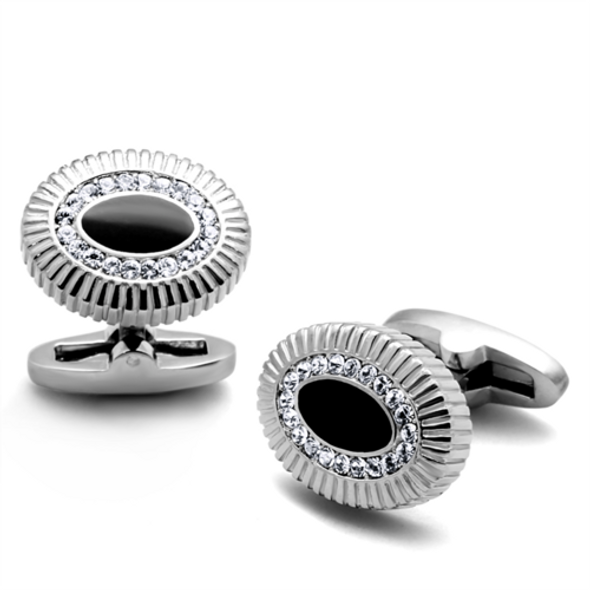 TK1656 - Stainless Steel Cufflink High polished (no plating) Men Top Grade Crystal Clear