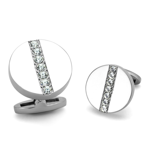 TK1657 - Stainless Steel Cufflink High polished (no plating) Men Top Grade Crystal Clear