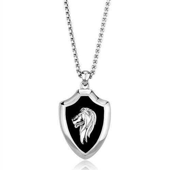 TK2521 - Stainless Steel Chain Pendant High polished (no plating) Men Epoxy Jet