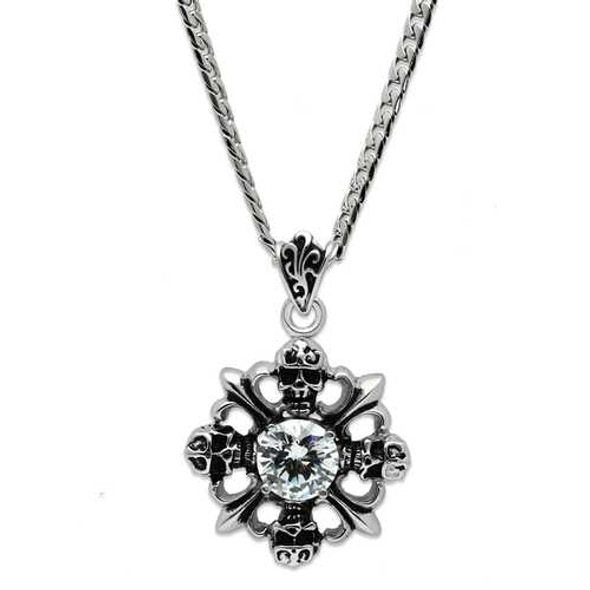 TK454 - Stainless Steel Chain Pendant High polished (no plating) Men AAA Grade CZ Clear