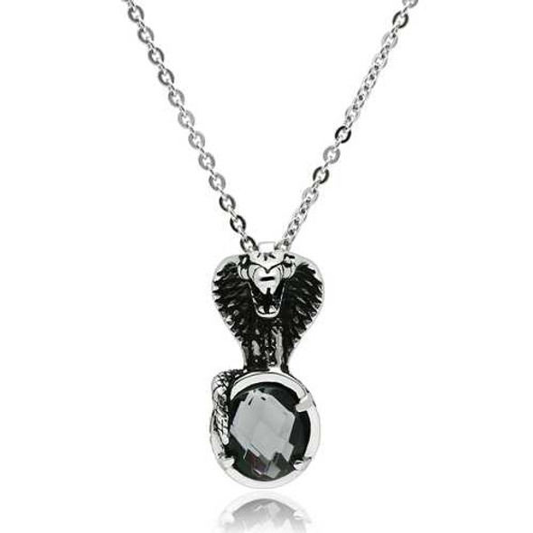 TK552 - Stainless Steel Necklace High polished (no plating) Men Synthetic Jet