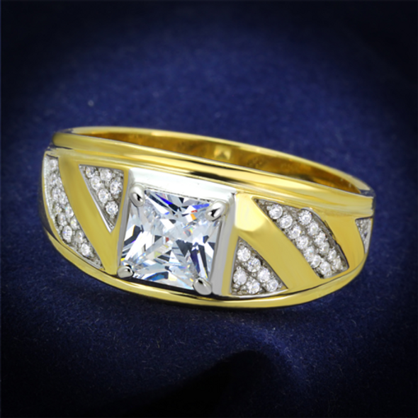TS247 - 925 Sterling Silver Ring Gold+Rhodium Men AAA Grade CZ Clear