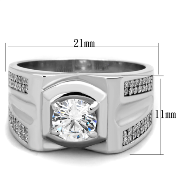 TS385 - 925 Sterling Silver Ring Rhodium Men AAA Grade CZ Clear