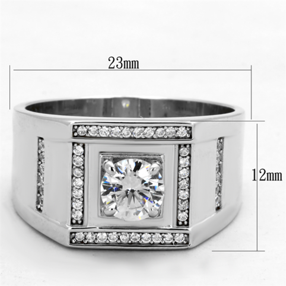 TS386 - 925 Sterling Silver Ring Rhodium Men AAA Grade CZ Clear