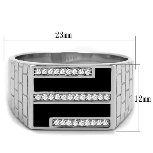 TS387 - 925 Sterling Silver Ring Rhodium Men AAA Grade CZ Clear