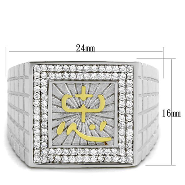 TS389 - 925 Sterling Silver Ring Gold+Rhodium Men AAA Grade CZ Clear