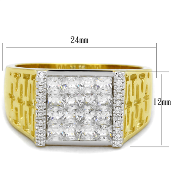 TS412 - 925 Sterling Silver Ring Gold+Rhodium Men AAA Grade CZ Clear