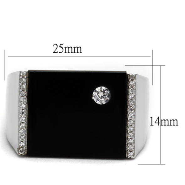 TS459 - 925 Sterling Silver Ring Rhodium Men Synthetic Jet