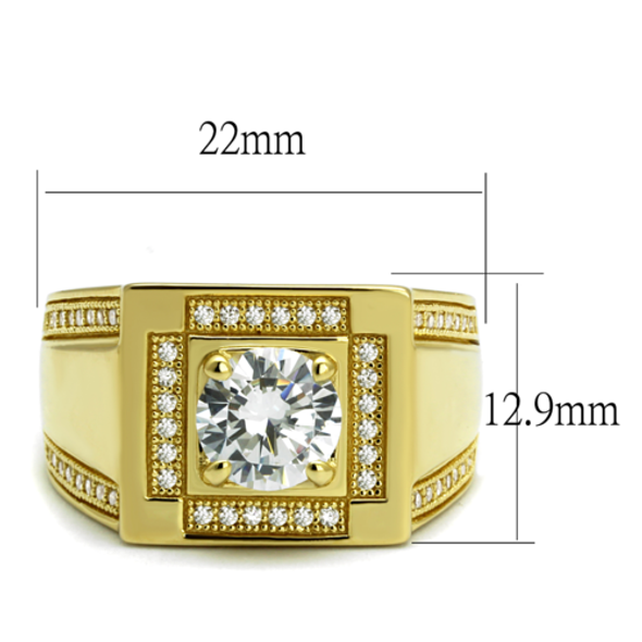 TS552 - 925 Sterling Silver Ring Gold Men AAA Grade CZ Clear