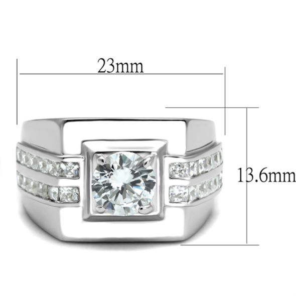 TS553 - 925 Sterling Silver Ring Rhodium Men AAA Grade CZ Clear