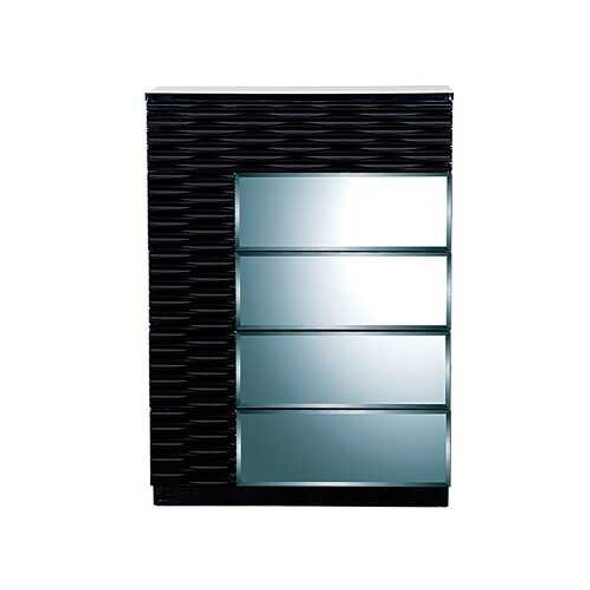 Modern Black Chest with Geometric Designed Panels  5 Drawers