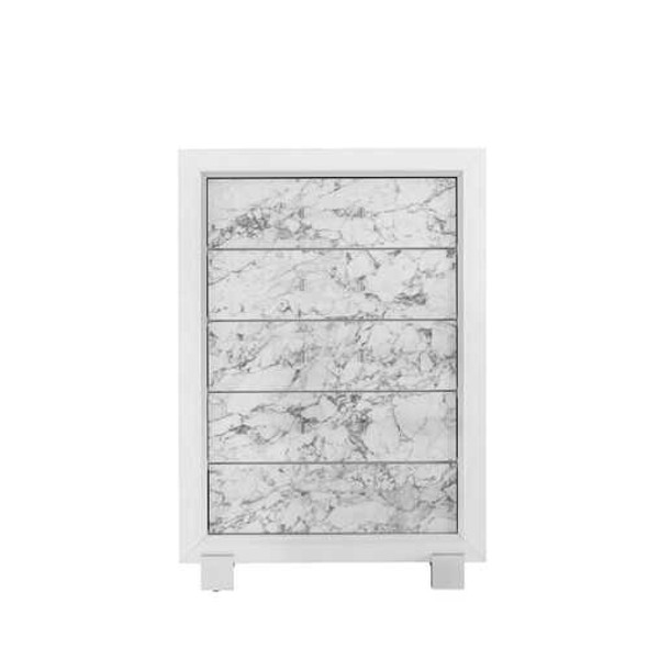 Modern White Chest with 5 Faux Marble Detailed Front Drawer.