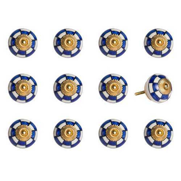 """1.5"""" x 1.5"""" x 1.5"""" White Blue and Gold  Knobs 12 Pack"""