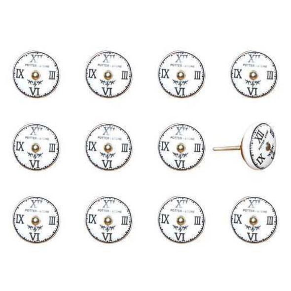 """1.5"""" x 1.5"""" x 1.5"""" White Black and Gold  Knobs 12 Pack"""