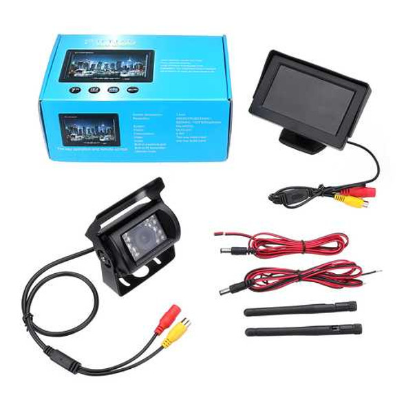2.4G Wireless Car Rear View Camera+4.3 Inch Monitor for 12-24V Truck Trailer