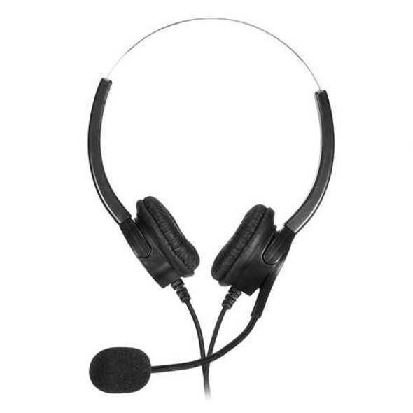 RJ11 Call Center Headset Telephone Corded Wired Microphone Office Head Phone