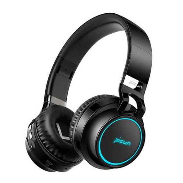 PICUN P60 Led Flashing Colorful bluetooth Headphone With Mic AUX TF Card Handsfree Call