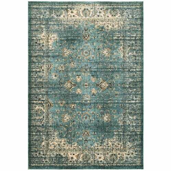 5' x 8' Peacock Blue and Ivory  Indoor Area Rug