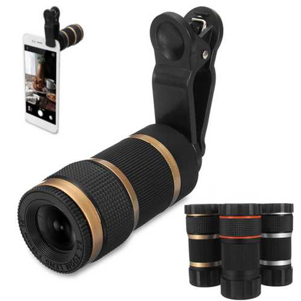 Practical 8x Optical Telescope Mobile Telephoto Lens with Clip for Smartphone Photographers