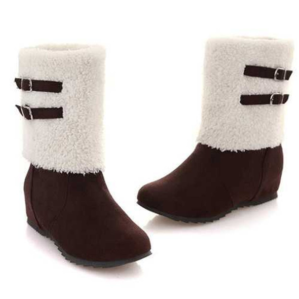US Size 5-12 Casual Warm Cotton Lining Slip On Mid Calf Boots For Women