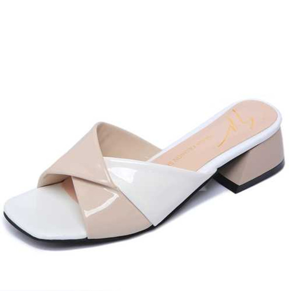 Women Summer Casual Stitching Square Heel Sandals