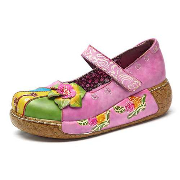 SOCOFY Retro Colorful Leather Handmade Flower Flats Shoes