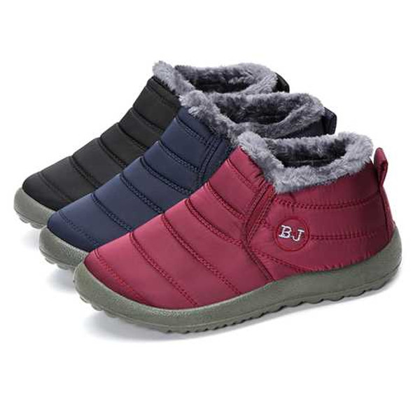LOSTISY BJ Shoes Warm Wool Lining Flat Ankle Snow Boots For Women